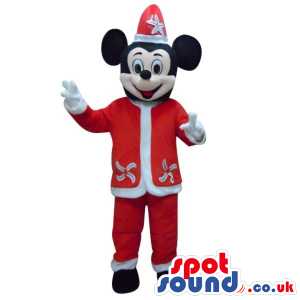 Mickey Mouse Disney Character Plush Mascot In A Santa Clothes -