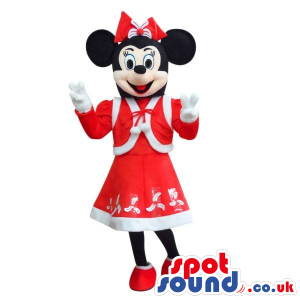 Mickey Mouse Disney Character Plush Mascot In Red Winter