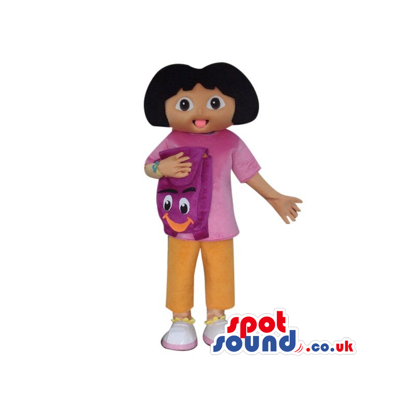 Dora The Explorer Cartoon Character Mascot With A Backpack -