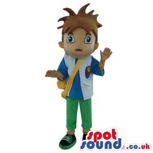 Dora The Explorer Boy Cartoon Character Mascot With A Bag -