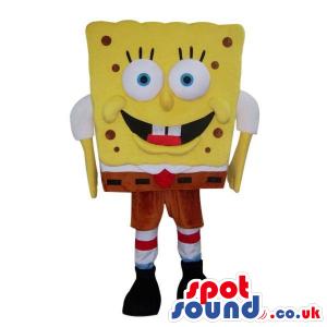 Sponge Bob Cartoon Character Mascot With Small Dots - Custom