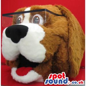 Brown And White Dog Plush Mascot Head Wearing Glasses - Custom
