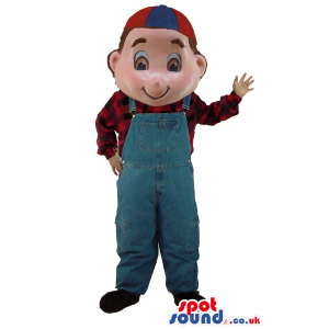 Boy Character Mascot Wearing A Checked Shirt, Overalls And A
