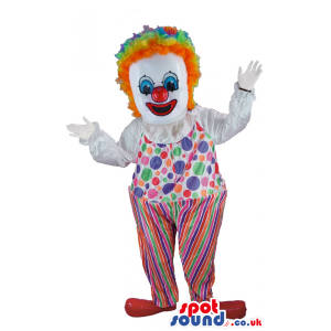 Clown Character Mascot With A Colorful Wig And Clothes - Custom