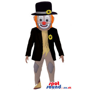 Elegant Clown Character Mascot With Orange Hair And Red Nose -