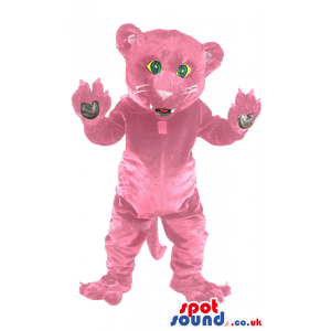 Pink Panther mascot with white whiskers and long dangling tail