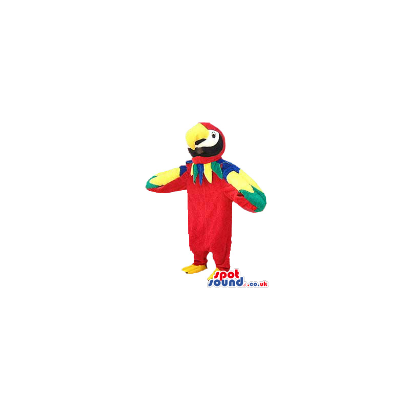 Red Exotic Parrot Plush Mascot With Colorful Wings - Custom