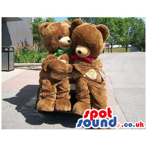 Brown Teddy Bear Plush Mascot Couple With Colorful Ribbons -