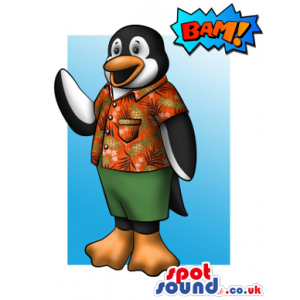 Funny Penguin Mascot Drawing In A Summer Shirt And Shorts -
