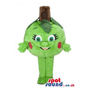 Green apple mascot with green pants and green socks - Custom