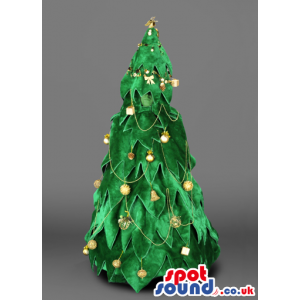 Tall christmas tree mascot with golden traditional ornaments -