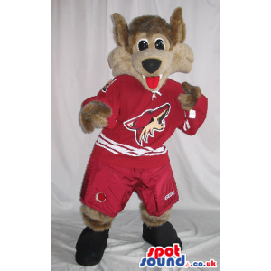 Wolf Plush Mascot Wearing Red Sports Clothes With A Logo -