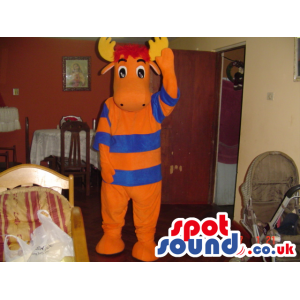 Orange moose mascot with red hair and yellow antlers - Custom