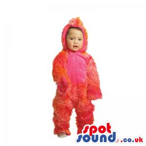 Customizable Red Hairy Monster Children Size Plush Costume -