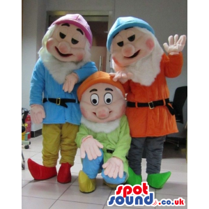 Three Snow White And The Seven Dwarfs Character Mascots -