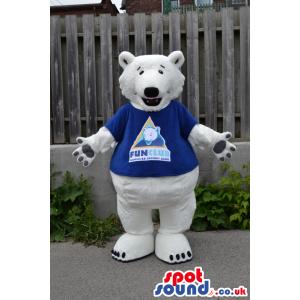 White Big Bear Plush Mascot Wearing A Blue T-Shirt With A Logo