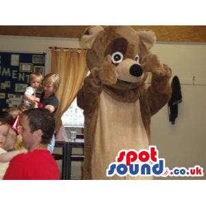 Brown Bear Animal Plush Mascot With A Dark Brown Eye Circle -