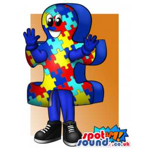 Big Jigsaw Puzzle With Colorful Pieces Mascot Drawing - Custom