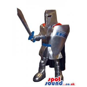 Realistic Soldier Mascot With A Silver Armor And Shield With