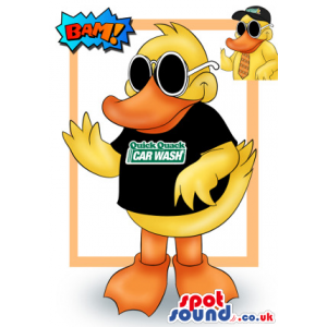 Duck Animal Mascot Drawing Wearing A Black T-Shirt With Logo -