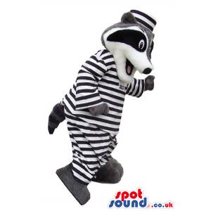 Cute Raccoon Plush Mascot Dressed In Prisoner Clothes - Custom