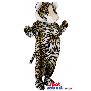 Velvet soft tiger mascot with tail dangling and fat belly -