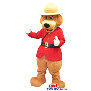 Brown Bear Plush Mascot Wearing A Red Guard Jacket And Hat -