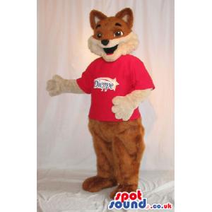 Fox Plush Mascot Wearing A Red T-Shirt With A Logo - Custom