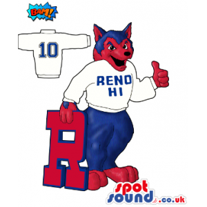 Red And Blue Wolf Plush Mascot Drawing Wearing A T-Shirt With