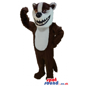 Menacing brown badger mascot with scary sharp white teeth -