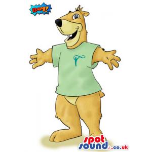Customizable Brown Big Bear Mascot Drawing In A Green T-Shirt -