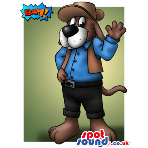 Brown Dog Wearing Cowboy Garments And Hat Mascot Drawing -