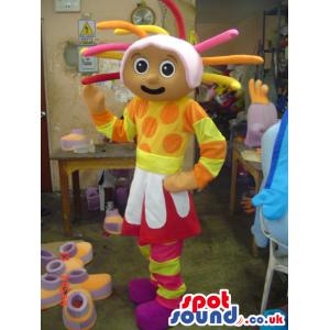 Flashy Cosmic Girl Plush Mascot With A Crazy Hairdo In Dot