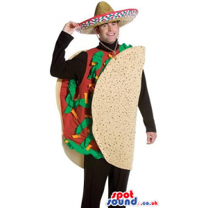 Mexican Taco Adult Size Plush Costume With A Mexican Hat -