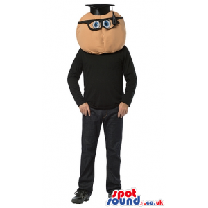 Round Head Teacher With Glasses Mascot Or Adult Size Costume -