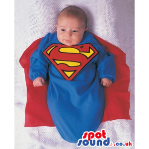 Cute Superman Hero Baby Size Costume With A Red Cape - Custom