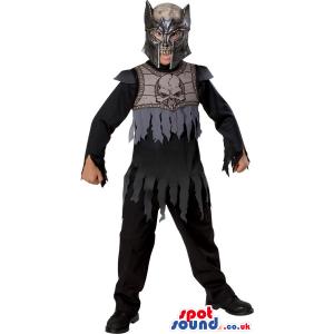 Scary Black Skull Hero Warrior Children Size Costume - Custom