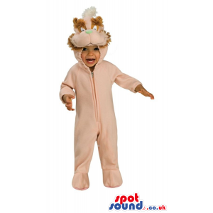 Cute All Pink Squirrel Baby Size Plush Costume With Tail -