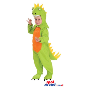 Green Fantasy Dragon Children Size Costume With An Orange Belly