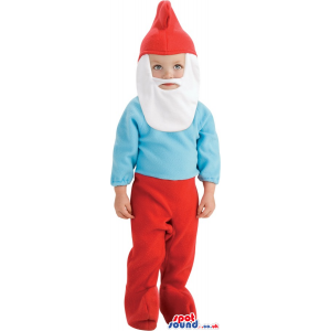 The Smurfs Character Children Size Costume With White Beard -