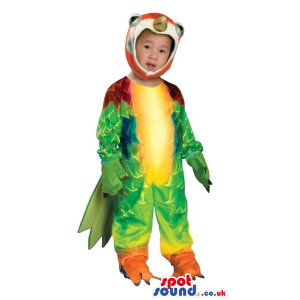 Exotic Green Parrot Baby Size Plush Costume With Colorful Wings