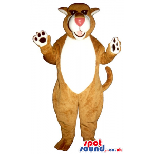 Brown Bear Plush Mascot With A White Belly And Red Nose -