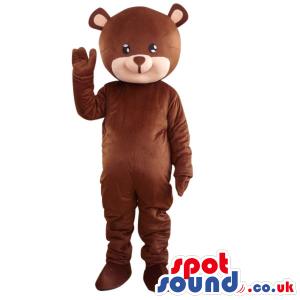 Cute Brown Teddy Bear Plush Mascot With A Beige Cartoon Face -