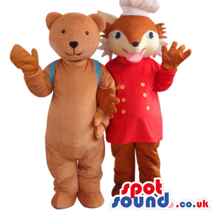 Cute Brown Teddy Bear With A Backpack And Chef Fox Mascot