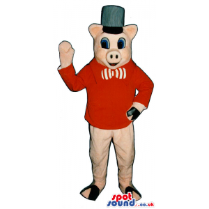 Pig Plush Mascot Wearing A Hat, Bow Tie And Red Jacket - Custom