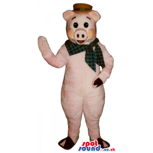 Pig Plush Mascot Wearing A Red Hat And A Checked Neck Scarf -