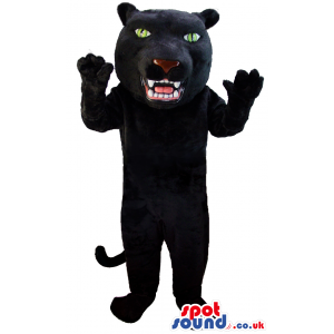 Black standing panther mascot with green eyes and white teeth -