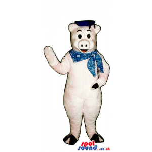 Customizable Pig Plush Mascot Wearing A Neck Scarf And A Hat -