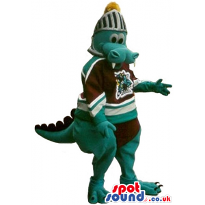 Dragon Plush Mascot Wearing Rugby Clothes And A Medieval Helmet
