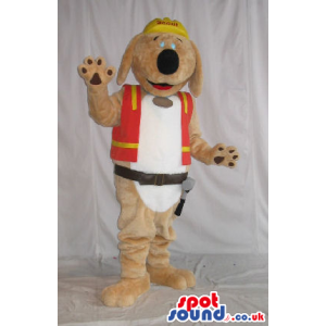 Brown Dog Plush Mascot Wearing A Worker Vest And Tools - Custom